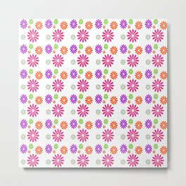Shiny Multicolored Small Flowers Pattern Metal Print