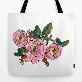 Colorful tea rose brunch with red berries. Isolated floral bunch Tote Bag