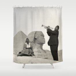 Louis Armstrong at the Spinx and Egyptian Pyrimids Vintage black and white photography / photographs Shower Curtain
