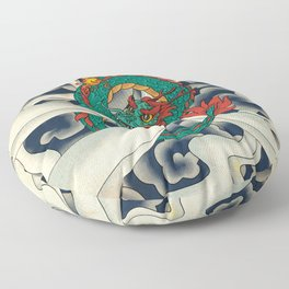 Minhwa: Asian Dragon with Magic Pearl F Type Floor Pillow