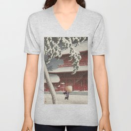 Asian Vintage Woodcut Unisex V-Neck
