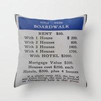 boardwalk empire Throw Pillows featuring Boardwalk by Beastie Toyz