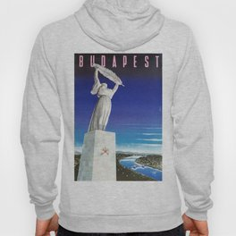 Budapest, Hungary, Gellért Hill, Liberty Statue, vintage poster Hoody