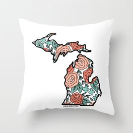 Coral Floral Roses Michigan Throw Pillow