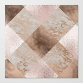 Copper and Blush Rose Gold Marble Gingham Canvas Print