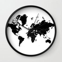 Minimalist World Map Black on White Background Wall Clock