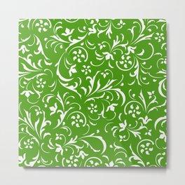 White and green swirly floral damasks pattern Metal Print