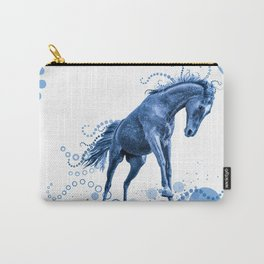 Playful Horse with Circles (blue) Carry-All Pouch