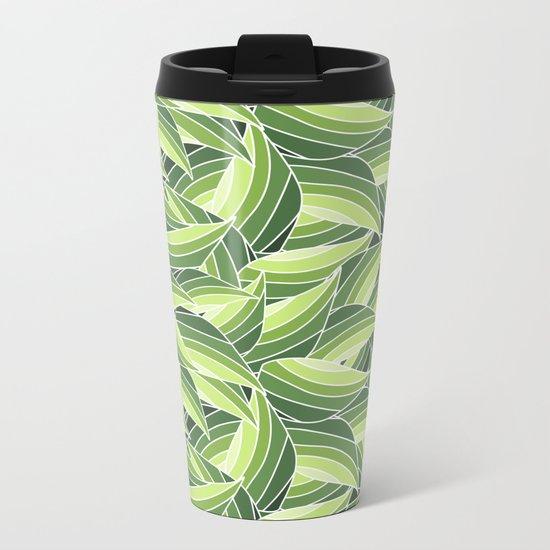 GREENERY LEAVES W  (abstract flowers nature) Metal Travel Mug
