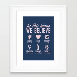 In This House We Believe, Navy & Pink Framed Art Print