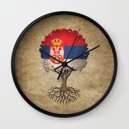 Vintage Tree of Life with Flag of Serbia Wall Clock