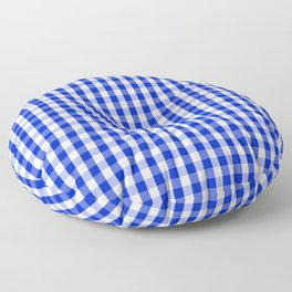 Cobalt Blue and White Gingham Check Plaid Squared Pattern Floor Pillow