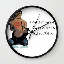 Love is when two hearts are united... Wall Clock