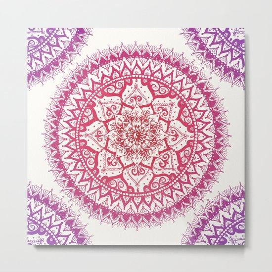 Yin Yang Mandala in Tropical Sunset Metal Print