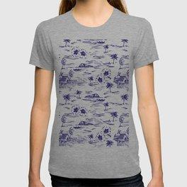 Tropical Island Vintage Hawaii Summer Pattern in Navy Blue T-shirt