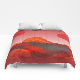 """""""Coral Pink Sci-Fi Mountains"""" Comforters"""