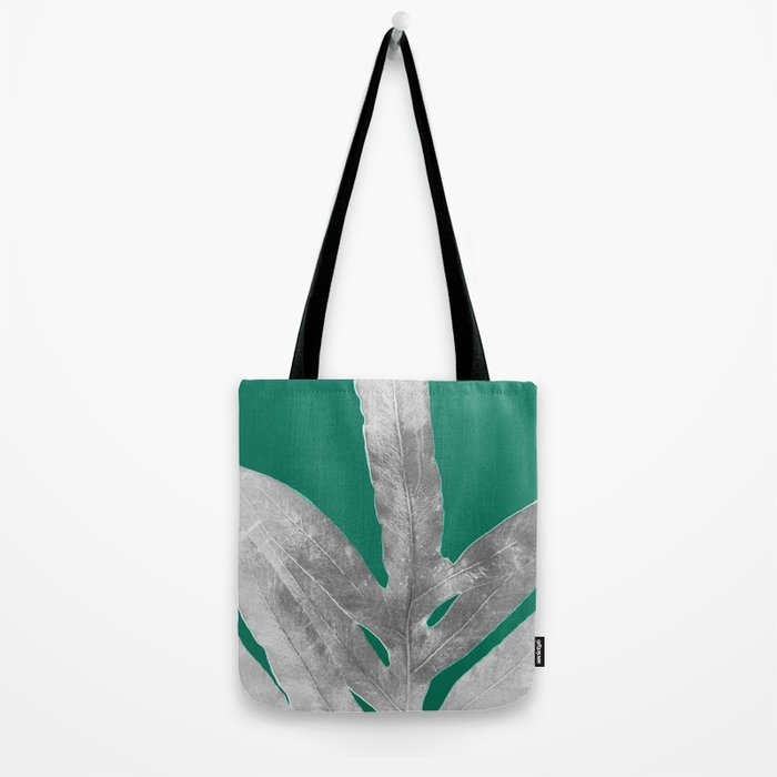 Christmas Fern, Holiday Green with Silver Winter Leaf Tote Bag