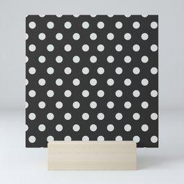 Dark Slate Grey Thalertupfen White Pōlka Large Round Dots Pattern Mini Art Print