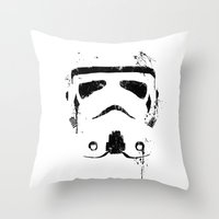 trooper Throw Pillows featuring Trooper by Purple Cactus