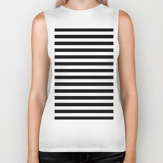 Modern Black White Stripes Monochrome Pattern Biker Tank