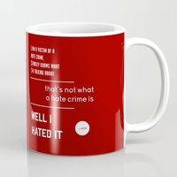 michael scott Mugs featuring Michael Scott on Hate Crimes (The Office) by thebuccanear