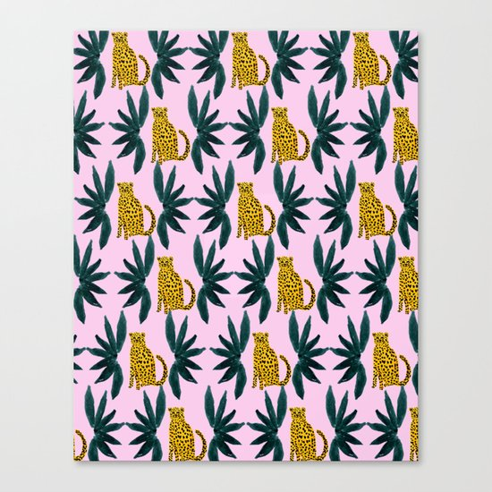 Cheetah and Leaves Canvas Print