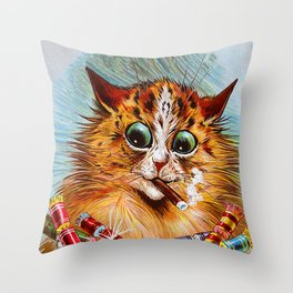 "Louis Wain's Cats ""Tom Smith's Crackers"" Throw Pillow"