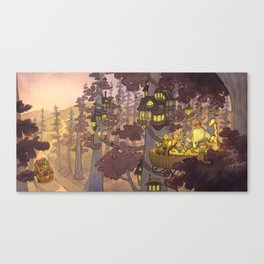 Treehouse Dinner With Animal Friends Canvas Print
