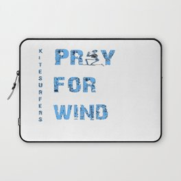 Kiteboarding Humor Kneeling Skeleton Praying For Wind Laptop Sleeve