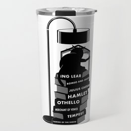 CAT READING SHAKESPEARE Travel Mug