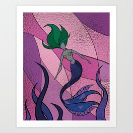 Mermaid Stained Glass (Royal) Art Print