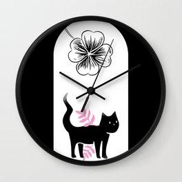 Lucky Kitten Drawing Black White Pink Wall Clock