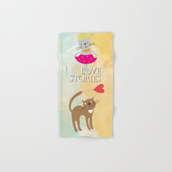 Cats - love stories Hand & Bath Towel