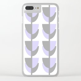 Tulips In Spring Time - Lavender and Grey on White - Tulips in Springtime series Clear iPhone Case