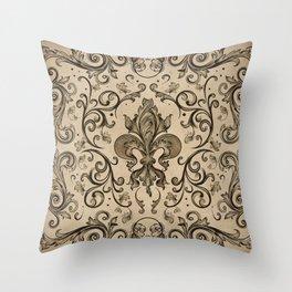 Vintage Fleur-de-lis ornament  Throw Pillow