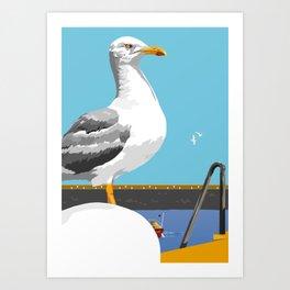 Seagull on the Pier Art Print