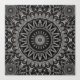 Ebony Lace Mandala Pattern Canvas Print