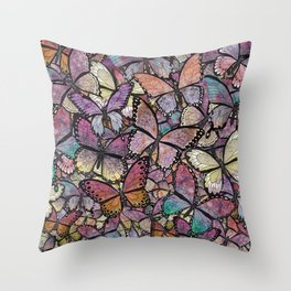 butterflies aflutter rosy pastels version Throw Pillow
