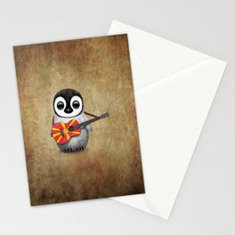 Baby Penguin Playing Macedonian Flag Acoustic Guitar Stationery Cards
