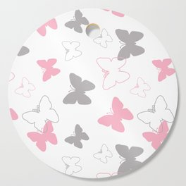 Pink Gray Butterfly Cutting Board