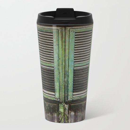 Green Window Shutters Metal Travel Mug