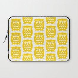 Mid Century Owl Pattern Yellow Laptop Sleeve