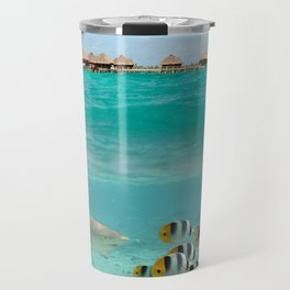 Diving with sharks on Bora Bora Travel Mug