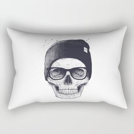 Grey Skull in a hat Rectangular Pillow