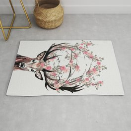 Deer and Flowers Rug