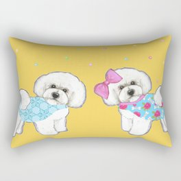 Bichon Frise Holidays yellow cute dogs, Christmas gift, holiday gift, birthday gift, dog, Bijon Rectangular Pillow