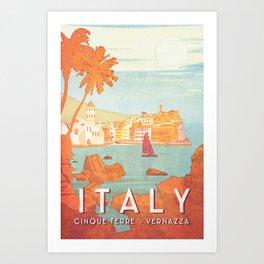 Italy, Cinque Terre Vintage Travel Poster Art Print