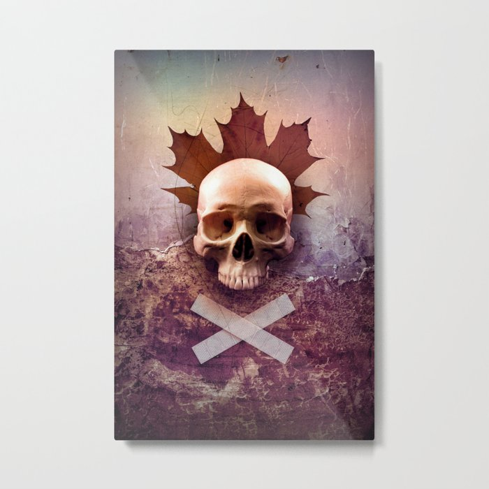 Skull and Leaf Metal Print