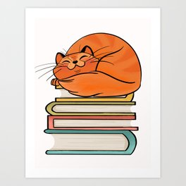 With Books And Cats Life Is Sweet Art Print