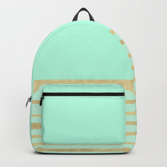 Mint and Gold stripes Backpack